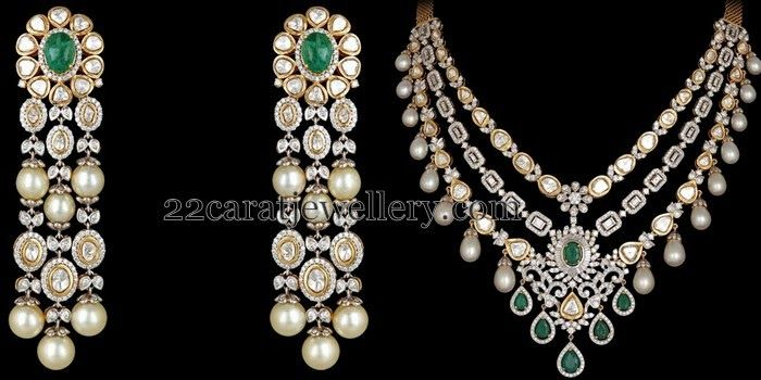 Jewellery Designs: Diamond Necklace with Tassels Earrings