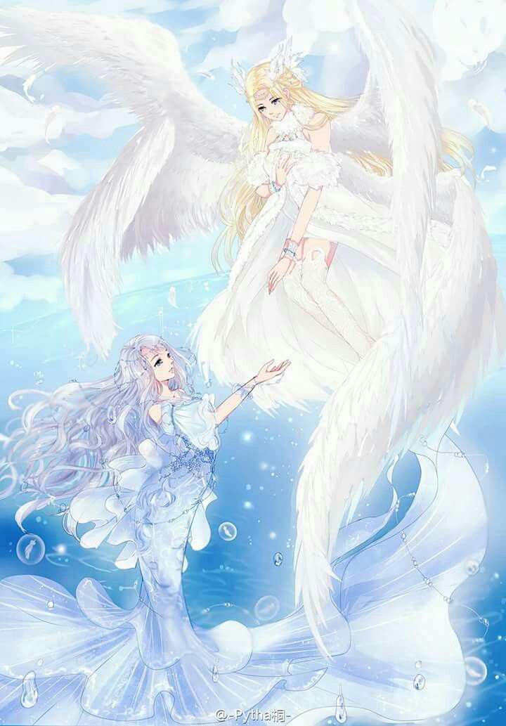 Anime angel and mermaid