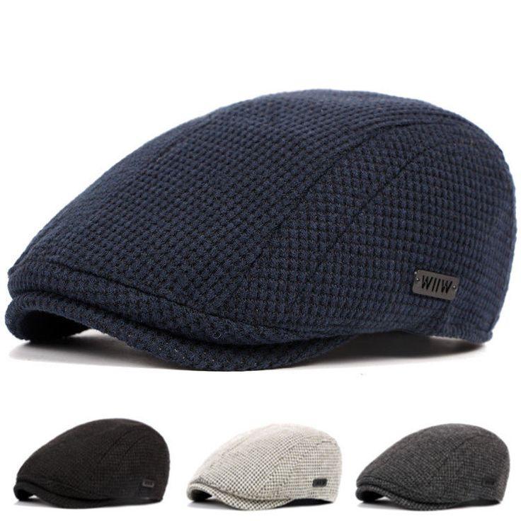 Homme Femme Béret Chapeau Casquette Plate Unisexe Laine Coton Crochet Hiver Cap