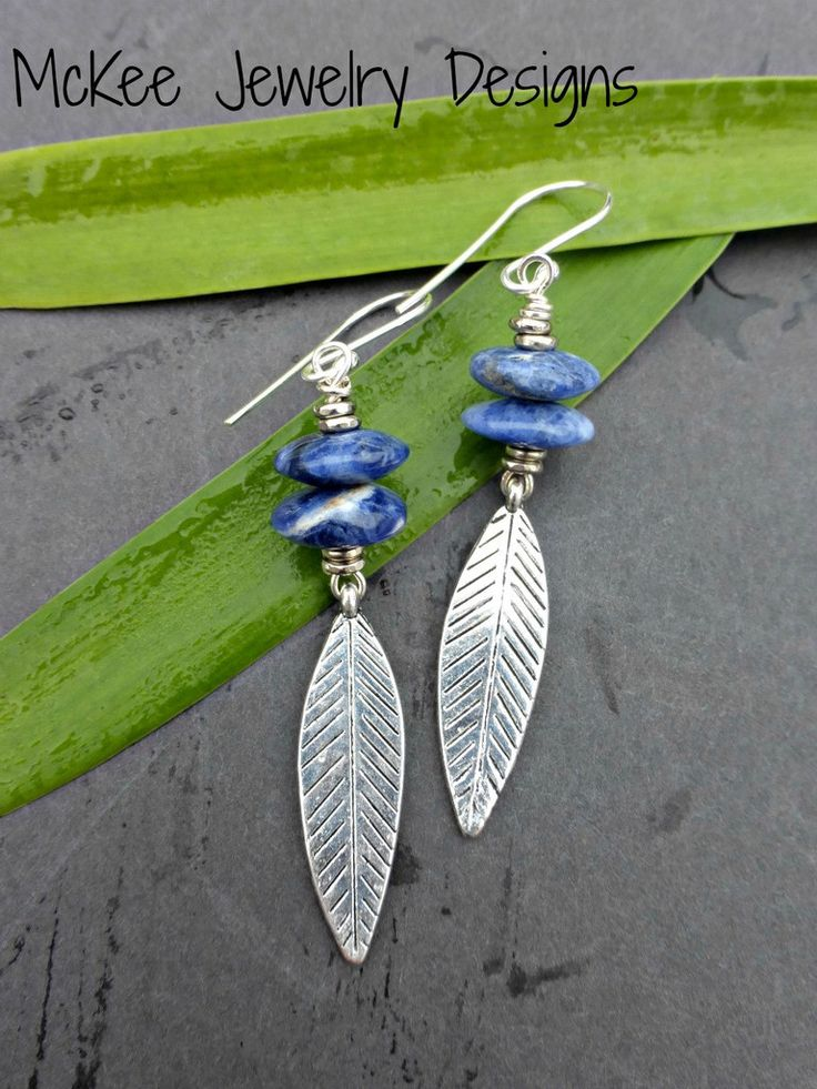 Feather charms, silver and Lapis Lazuli blue stone earrings.