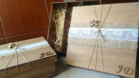Caixa com decoração rústica para presentear e convidar padrinhos de casamento.  As cores das florzinhas podem ser alteradas de acordo com o evento.  Decorada com renda, florzinhas e fio nude.