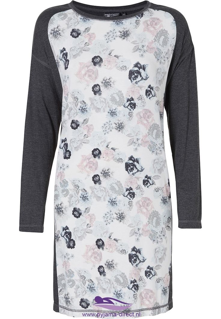 Pastunette Deluxe 'soft shades winter flowers', dark grey & soft pink long sleeved floral nightdress