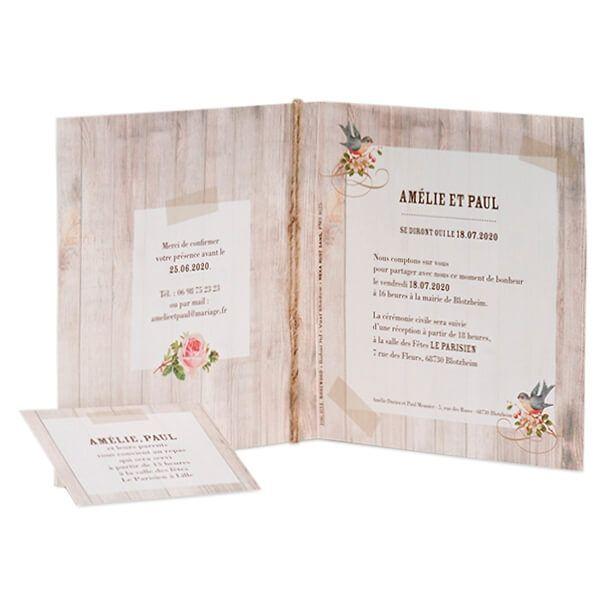 Einladungskarte In Rustikaler Holzoptik Und Einlegekarte   Weddix.de