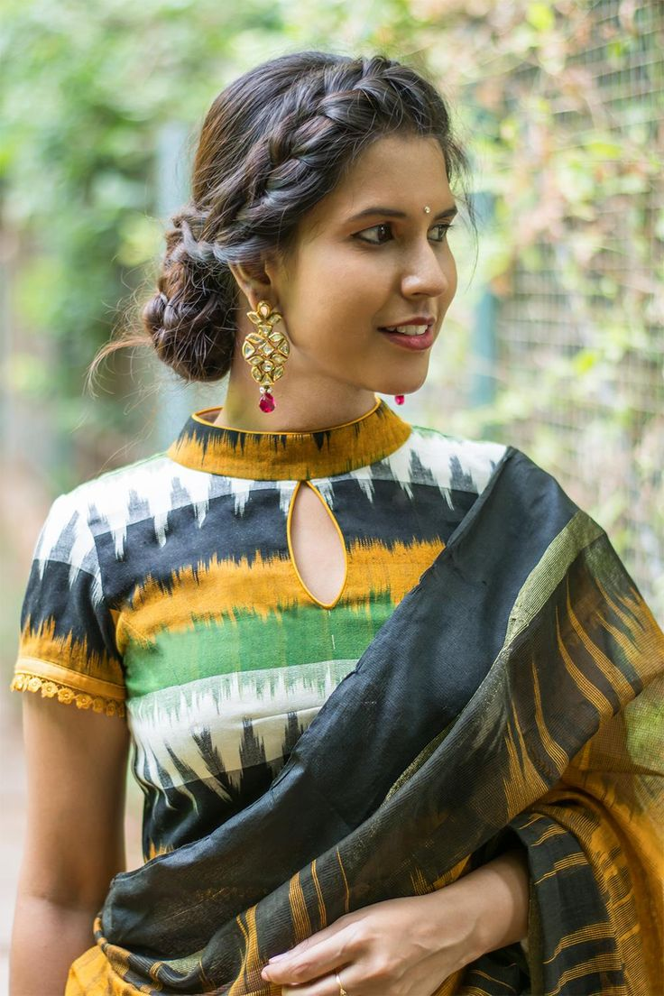 Mustard and black Ikat cotton high neck blouse #blouse #saree #houseofblouse #desi #indianwear #summer #ikat #cotton #hineck #black #mustard #white #green