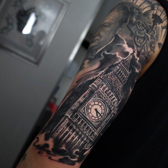 """Big ben :-) done using @mithraneedles @inkmachines_christian @inkeeze #tattoo…"