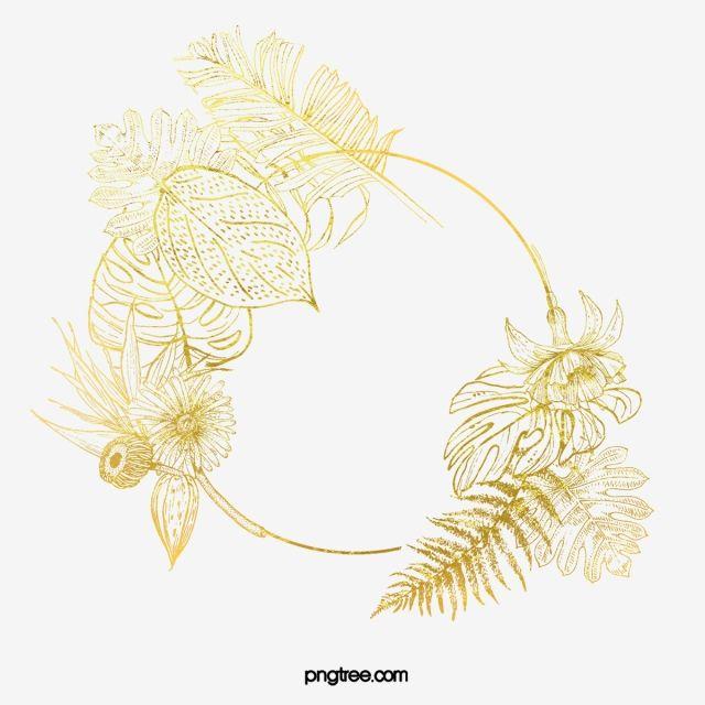 Golden Border Leaves Elements Golden Leaf Plant Png Transparent Clipart Image And Psd File For Free Download