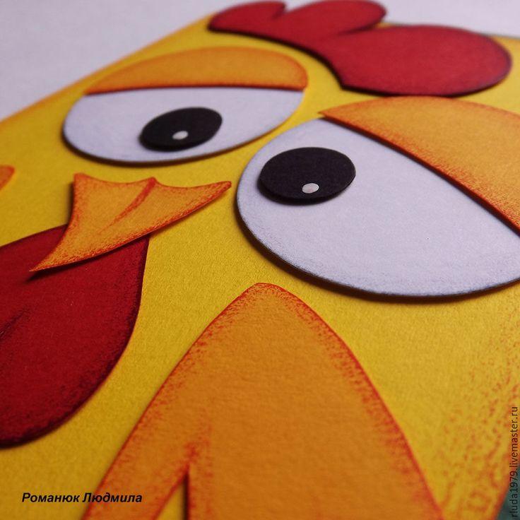 """Купить Новогодняя открытка """"Цыпленок"""" - Открытка ручной работы, романюк людмила, открытка нижний новгород"""