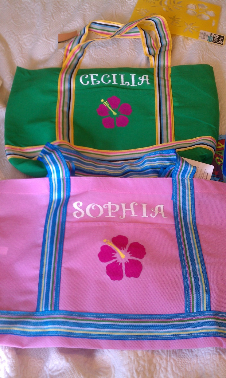 Pool Bag Party favors for the Luau party.  Bought the bags at the dollar store and painted them myself.  They were a hit and all the girls have used them all summer and they have held up GREAT!Kids Parties, Entertaining Parties, Luau Parties, Birthday Parties, Parties Favors, Bags Parties, Parties Ideas, Pools Parties, 12002006 Pixel
