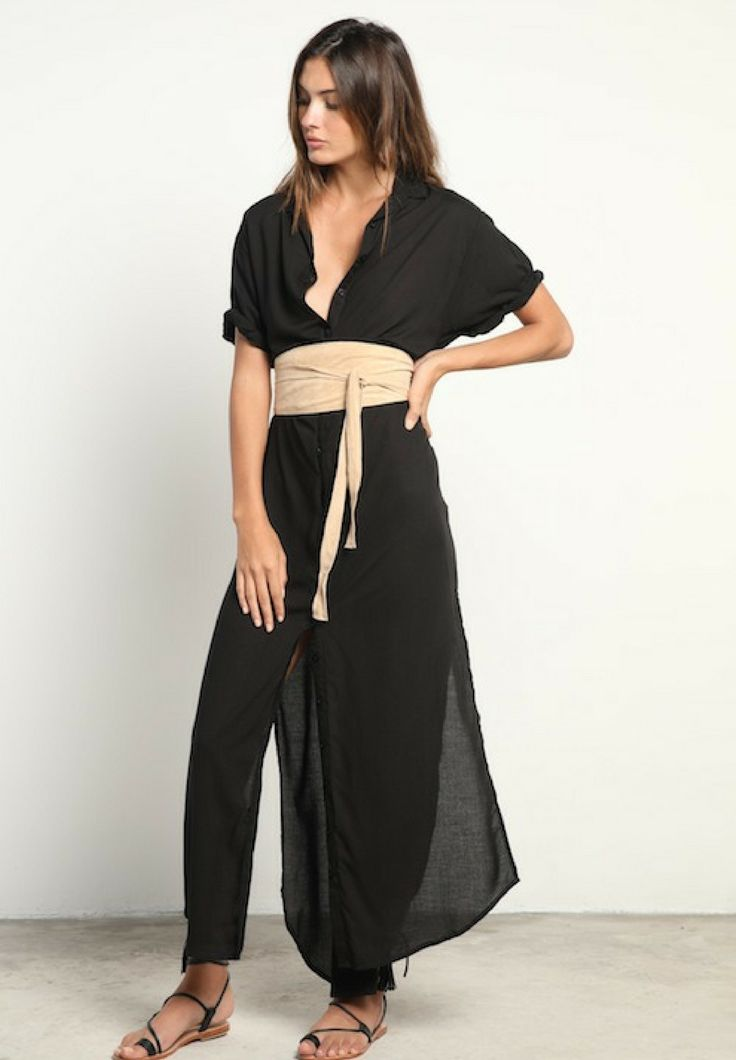 LILYA - Hutton Maxi Shirt Dress In Black