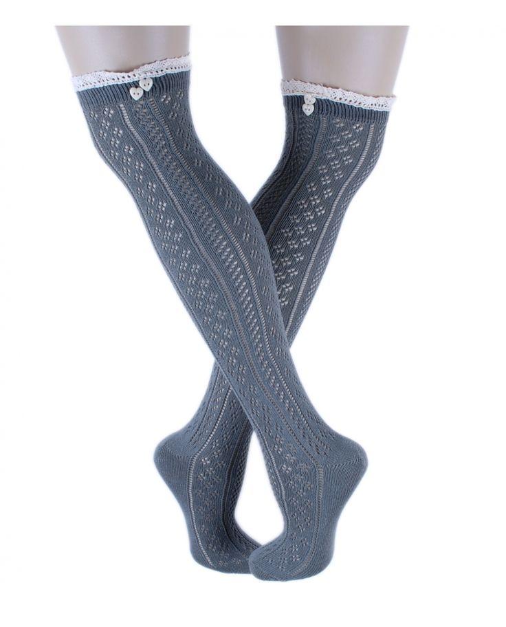 Dantel ve Düğme Detaylı Haki Diz Üstü Çorap
