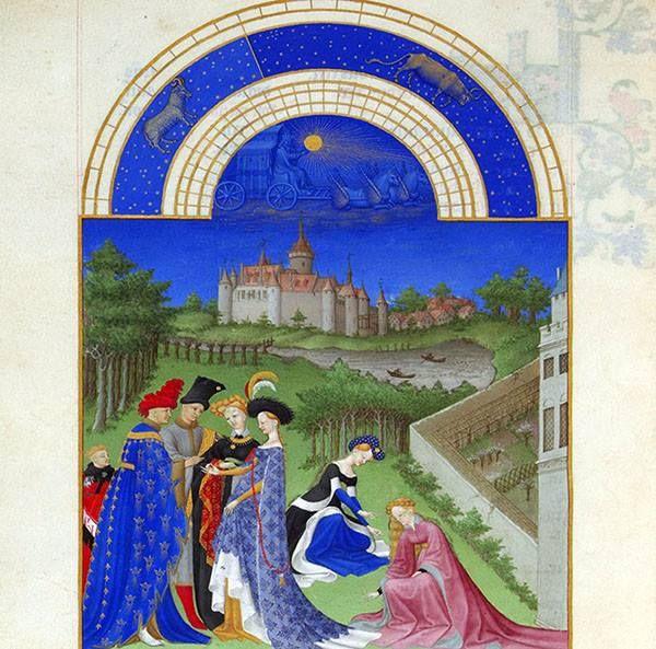 """""""Aprile. Alberi in germoglio e fidanzamento con scambio degli anelli. Sullo sfondo lo Château de Dourdan"""". Miniatura dei Fratelli Limbourg, tre artisti olandesi alla corte di Giovanni di Valois il Magnifico, per le """"Très Riches Heures du Duc de Berry"""" composto nel 1416. Per questo mese la parte del calendario, il semicerchio blu, non fu completata."""
