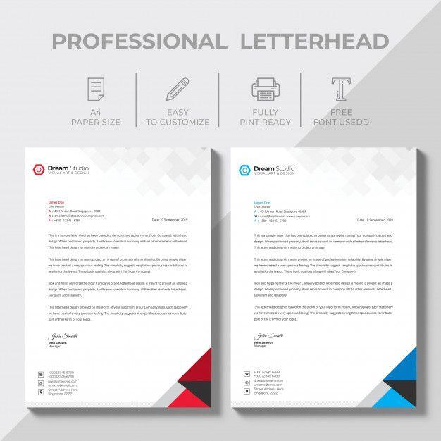 Creative Letterhead Design Template Vect Free Psd Freepik Freepsd Logo Business Card Brochure Letterhead Design Letterhead Letterhead Template Word