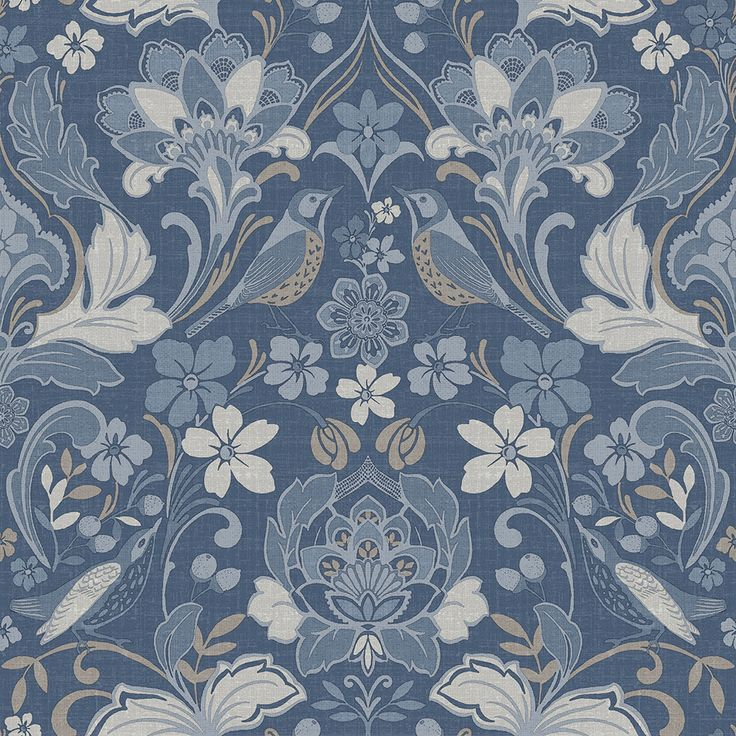 Folk Floral by Arthouse Blue Wallpaper : Wallpaper Direct ...