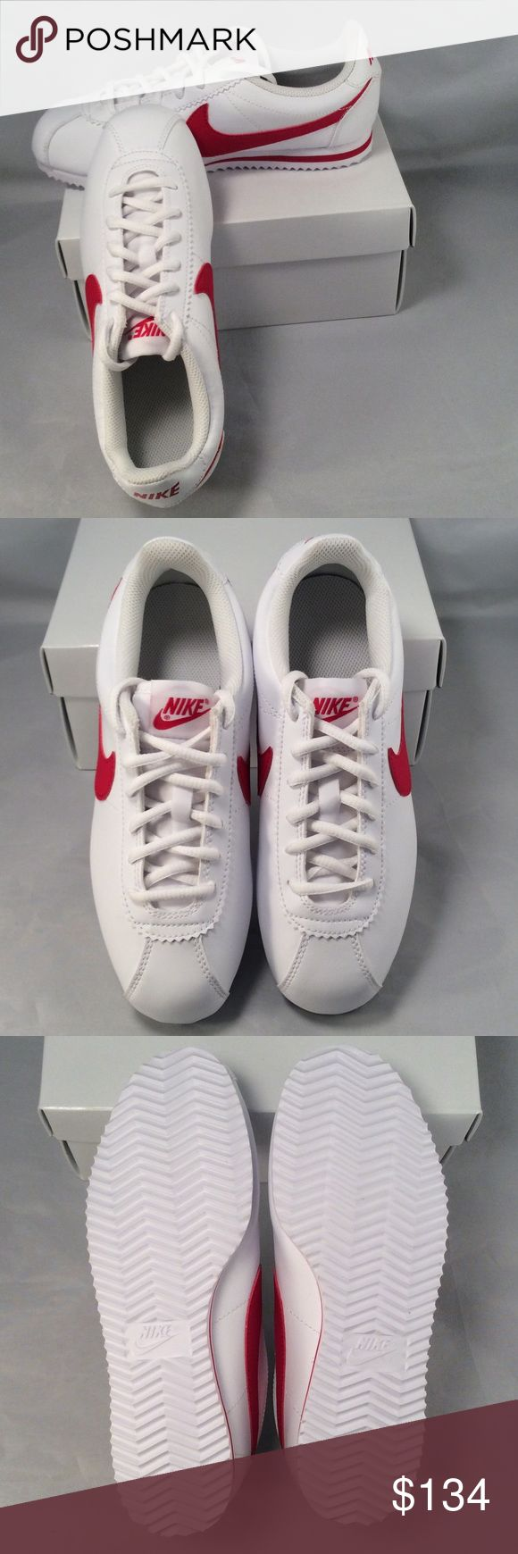 Nike Kids Cortez (GS) White Red Running Shoe 4.5 NWOB and never worn. Kids Size 4.5 youth running shoes.  Indulge in track-running nostalgia with the Nike Cortez shoe. Nike Shoes Sneakers