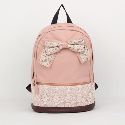 Girls Vintage Canvas Cute Rucksack Satchel Travel Schoolbag Bookbag Backpack Bow