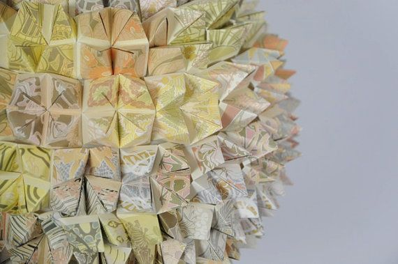 Art Nouveau Origami Pendant Lamp by SilkandSpoon on Etsy, €119.00