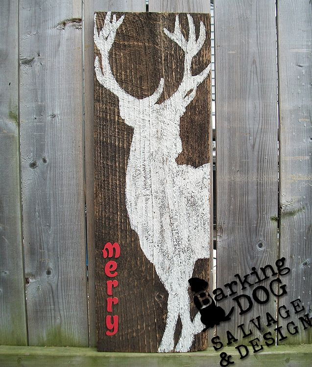 Festive Holiday Décor: Hand-painted reindeer on authentic barn-board. *Are you interested in my custom designed, hand-painted shutters? Please visit my facebook page and support artists and small, independent businesses ~ Thank you for your support! https://www.facebook.com/BarkingDogSalvageAndDesign