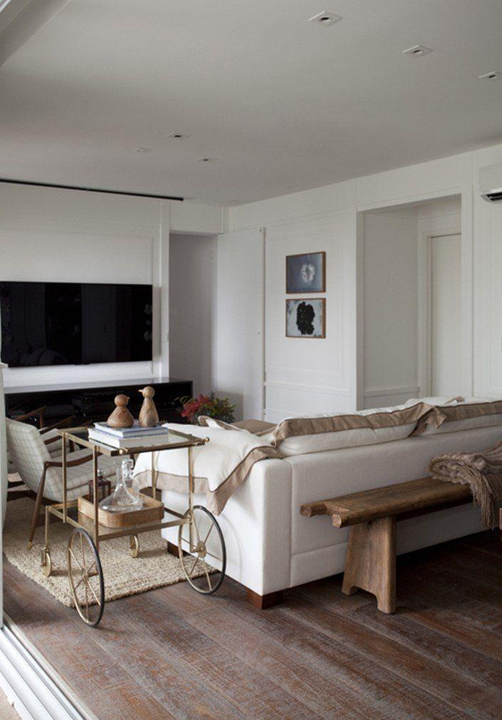 Apartamento Fernanda Floret, Decor Provençal Com Mistura Brasileira.  Carrinho De Chá Em Ferro E