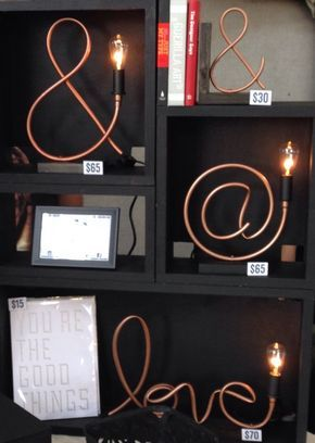 Lampe de tuyauterie en cuivre de symbole / par MechanicalBirdsShop Plus