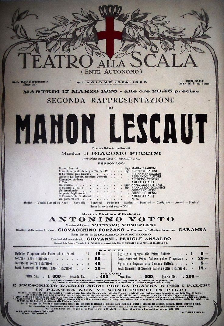 "Giacomo Puccini's ""Manon Lescaut"" (1893), 17 March 1925. Conductor: Antonino Votto."