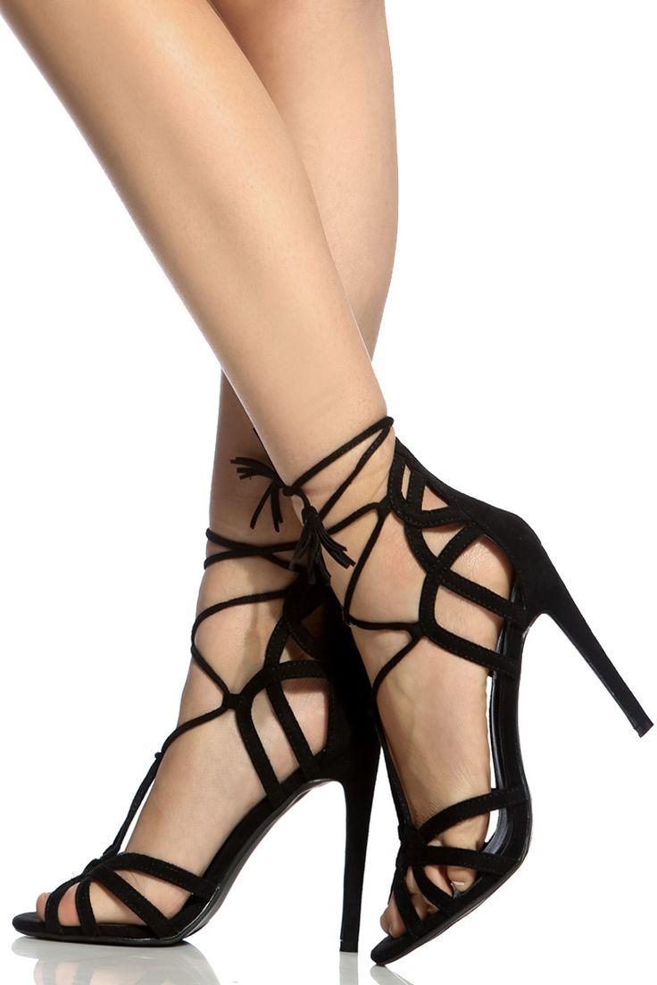 Black Faux Suede Lace Up Cut Out Heels @ Cicihot Heel Shoes online store sales:Stiletto Heel Shoes,High Heel Pumps,Womens High Heel Shoes,Prom Shoes,Summer Shoes,Spring Shoes,Spool Heel,Womens Dress Shoes