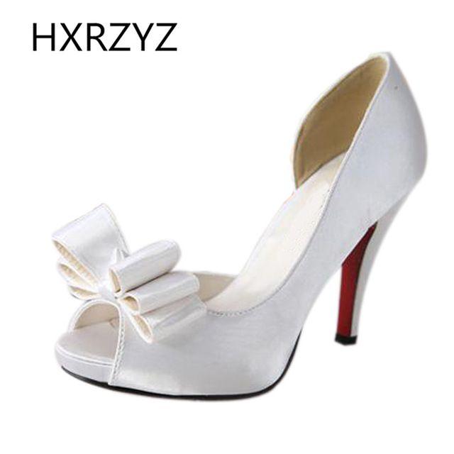 arco boca de peixe moda superfície casamento sapatos de seda toe aberto mulheres senhoras sandálias de salto alto sapatos de noiva sapatos pretos vermelho grande porte