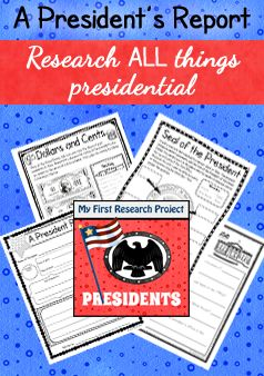 Perfect for Presidential Research with newer readers! Yes, there is a page for researching ANY president, and a cloze research report for both Lincoln and Washington, but this report also includes the president's job, the seal, the White House, and currency. ($)