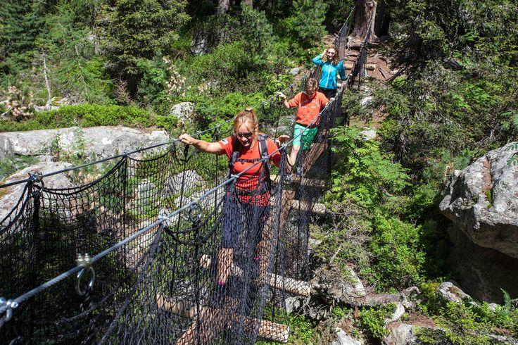 Adventure Trail: suspension bridges, ropes and nets, Engadin St.Moritz, Graubunden, Switzerland