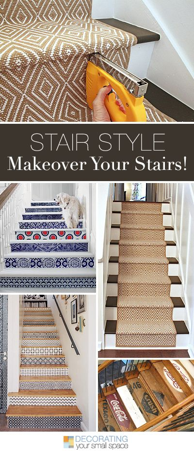 Stair Style • Makeover Your Stairs! • Lots of Ideas and Tutorials! I especially like the carpet runner.
