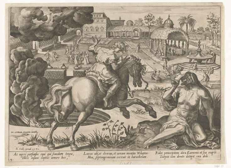 Pieter Jalhea Furnius | Verlokkingen van weelde, Pieter Jalhea Furnius, Hieronymus Cock, 1570 | Een jongen zit op een wild paard, rechts ligt de personificatie van Bedrog - een vrouw met masker - op de loer. Achter het paard wordt in een kuil een bebaarde man met kroon verbrand. De jongen kiest het juiste pad en rijdt richting een weide waar figuren spelen en rechts de Fontein der Jeugd staat. Onder de voorstelling staat een tekst in het Latijn, links in de marge genummerd: 3. De prent maakt…