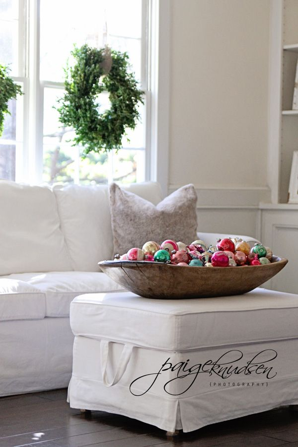 big wood bowl of colorful ornaments - so simple!