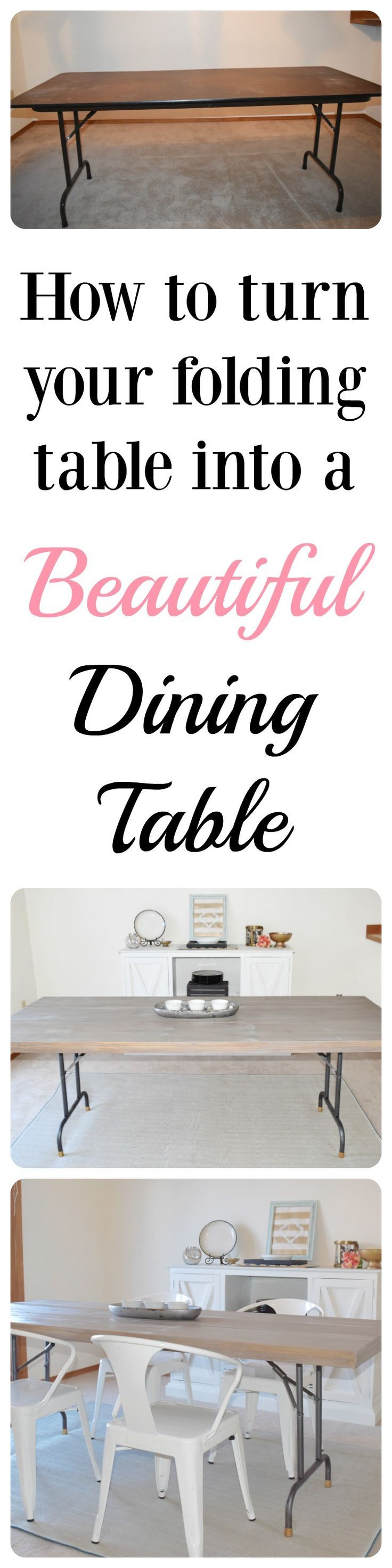 How to turn a folding table into a designer knock-off dining table. How to use stain. How to build a table. Farmhouse. Rustic Industrial.
