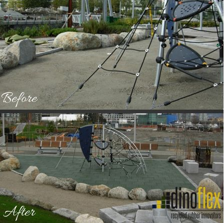We know you all love a good before and after. The Hinge Park in Vancouver, BC used our PlayTiles® to transform their space and provide the required fall height protection for their equipment. If you are interested in learning more about our certified fall height systems, please feel free to contact us through our website www.dinoflex.com #Dinoflex #Safety #Vancouver #BeforeandAfter #Transformation #UniquelyDifferent