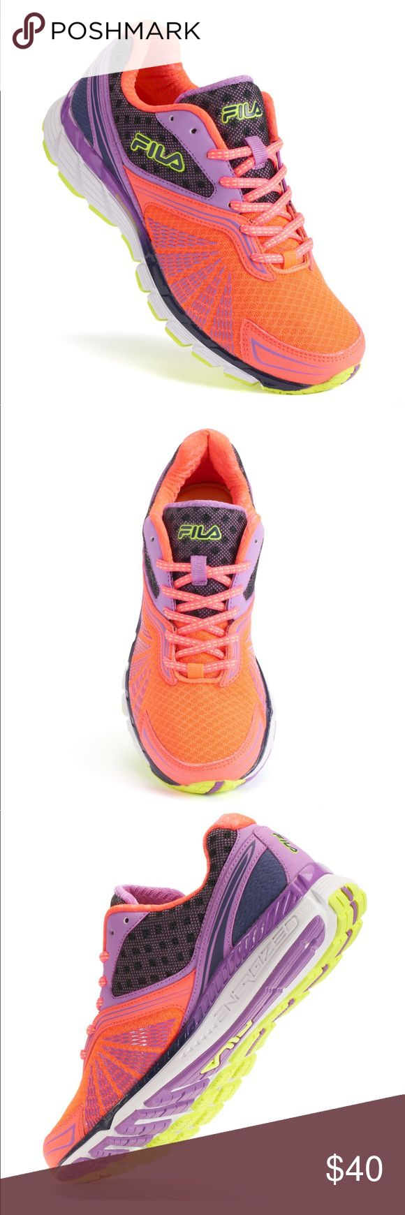 Fila Women's Running Shoes Lightweight and comfortable, these women's FILA running shoes let you go the extra mile.  *leather, synthetic, mesh upper, EVA midsole, rubber outsole, lace up closure, memory foam footbed. Fila Shoes Sneakers