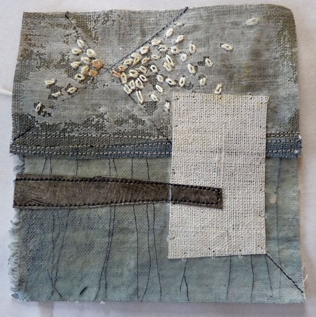 Debbie Lyddon : Small Marshscape – White Rectangle, Cloth, Stitch, Wax, approx. 14x14cms