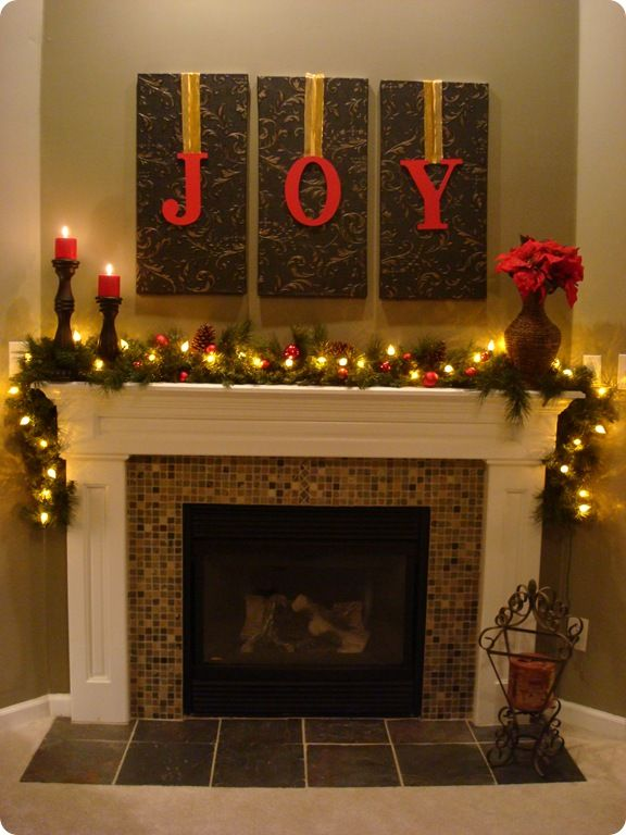 "One of my simplest Christmas projects is also one of my favorites. I took wood letters from Hob Lob, painted them Santa Red, then hung them with ribbon from the wallpaper art hanging over the mantel. I hot glued the ribbon to the letters, then just used tacks to secure them to the ""art."" (love this idea, time is running out and this makes an elegant statement with impact, can vary background art, ribbon choice, etc. to suit different decor) #Christmas #Decorating #mantel #DIY #Crafts ≈√"