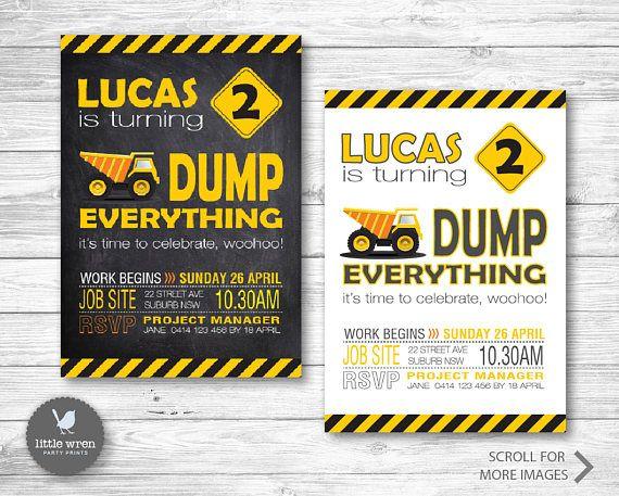 Construction Birthday Party Invitation Dump truck Digger