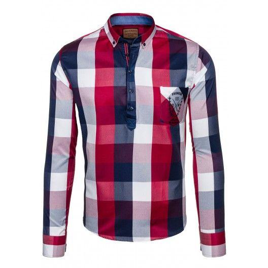 Štýlová pánska kockovaná košeľa červenej farby - fashionday.eu