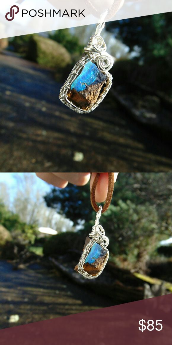 Australian Boulder Opal wire wrap pendant handmade Stunning rough Australian Boulder Opal stone wrapped in hand woven silver fill wire.Pendant is about 1 1/2 inches long.One of a kind, made with love. Jewelry