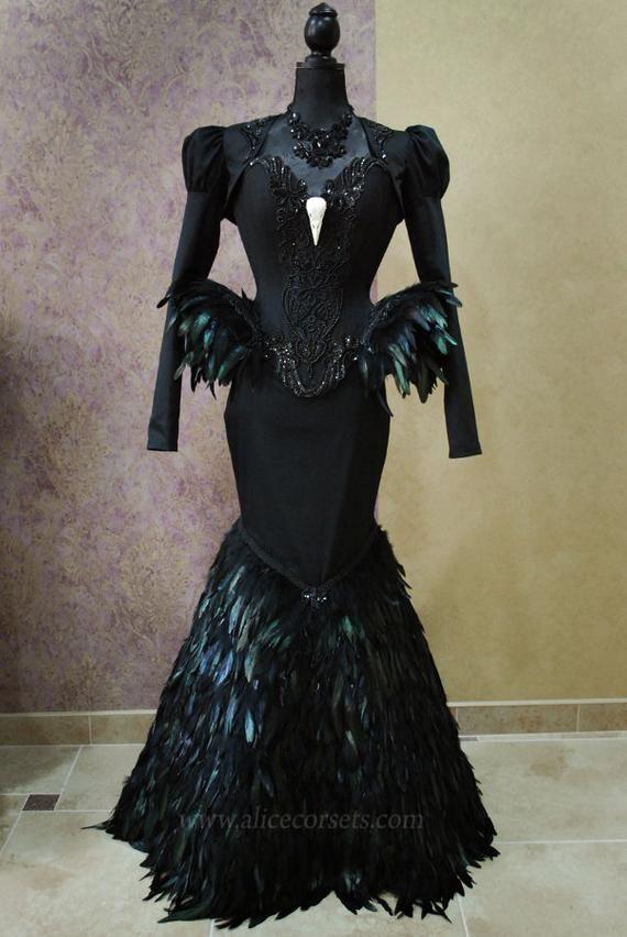 380e1b5e884 Black Swan Haute Goth Corset Dress ~ Gothic Feathers Raven Skull ...