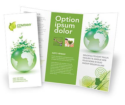 Double sided tri fold green environment brochure template for Double sided brochure template