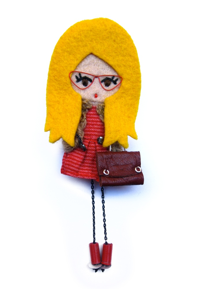 Mercedes. # felt dolls # brooche doll # custom doll # minimis