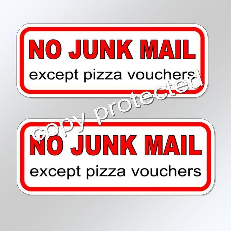 NO JUNK MAIL except pizza vouchers X 2  letterbox mail box vinyl sticker decal
