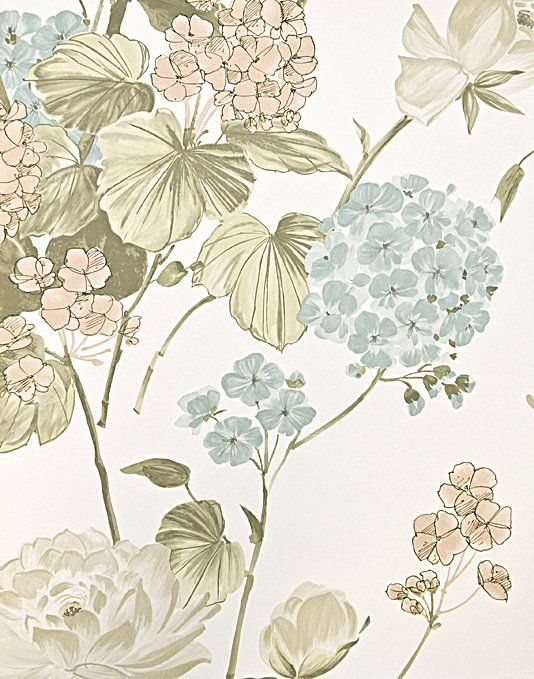 Awesome Penrose Floral Wallpaper Bold Floral Print Wallpaper In White, With Pale  Pink, Powder Blue Part 21