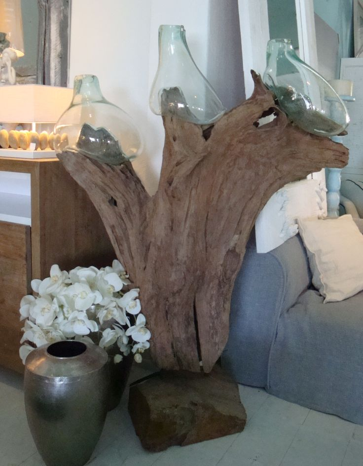 Tree root and blown glass.