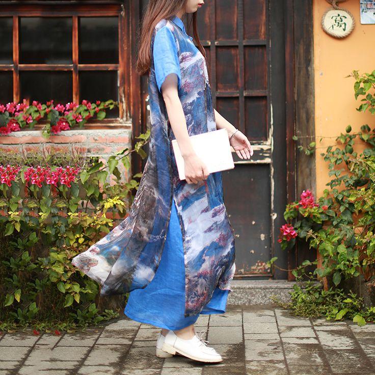 2017 Summer Chiffon Dress Short Sleeve Women Long Dresses Vintage Chinese Robe Femme Fake 2 Pieces Shirt Dress Moda Mujer Jurken