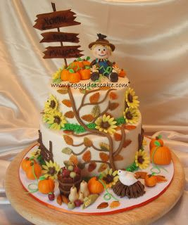 190 Best Thanksgiving Cakes Images On Pinterest