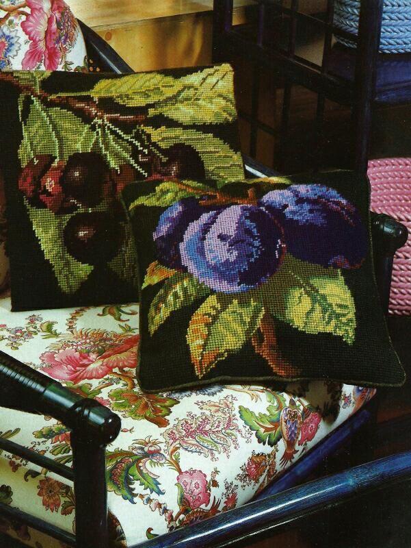 Kaffe Fassett Needlepoint pillows, Plums and Cherries