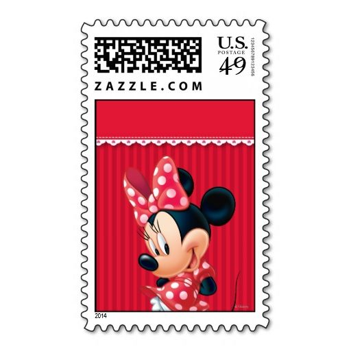 Red and White Minnie 4 Stamp. This is customizable to put a personal touch on your mail. Add your photos or text to design your own stamp that can be sent through standard U.S. Mail. Just click the image to try it out!