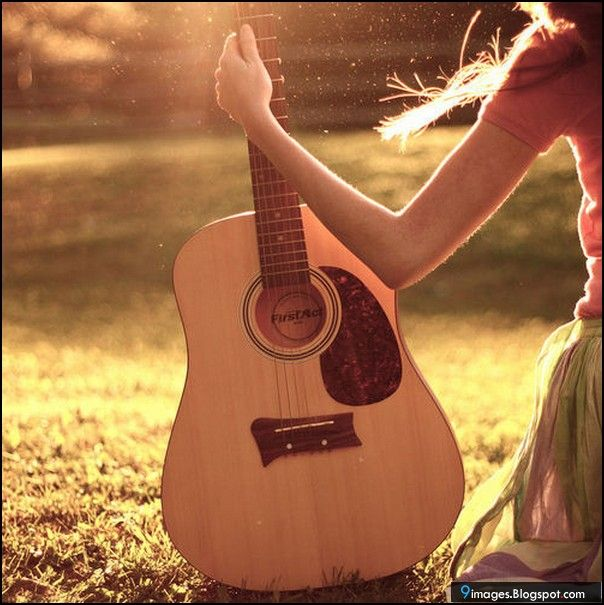 Girl Guitar Hand Sunset Cute 9images Girls With Guitars